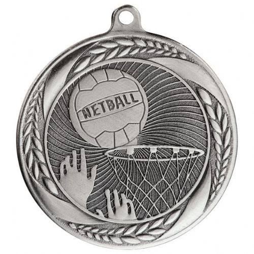Typhoon Netball Medal Silver 55mm